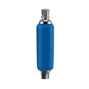"Poignee - Blue Plastic Tap Handle 5"" W / Chrome Plated Ferrule"