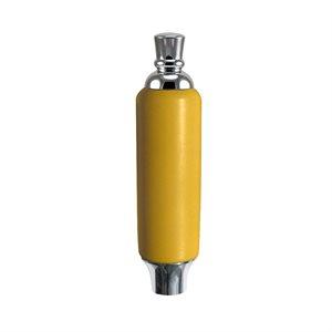 "Poignee - Yellow Plastic Tap Handle 5"" W / Chrome Plated Ferrule"